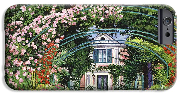 Garden Scene Paintings iPhone Cases -  Flowering Arbor Giverny iPhone Case by David Lloyd Glover