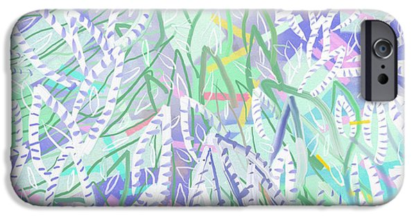 Design iPhone Cases - Abstract Orginal Painting Colorful Foliage By Jerica Gracin iPhone Case by Jerica  Gracin