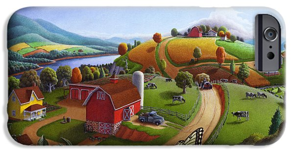 Pennsylvania iPhone Cases -  Folk Art Blackberry Patch Rural Country Farm Landscape Painting - Blackberries Rustic Americana iPhone Case by Walt Curlee