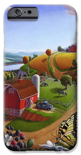 Folk Art Blackberry Patch Rural Country Farm Landscape Painting - Blackberries Rustic Americana iPhone Case by Walt Curlee