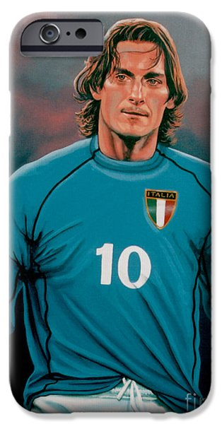 Football Paintings iPhone Cases -  Francesco Totti Italia iPhone Case by Paul Meijering