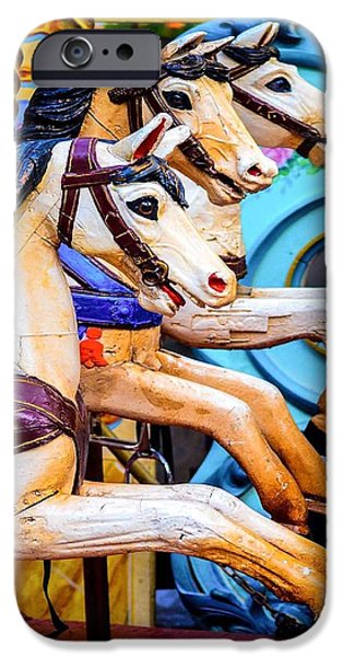 Carousel Horse Paintings iPhone Cases -  French Carousel Horses iPhone Case by Alan Goldberg