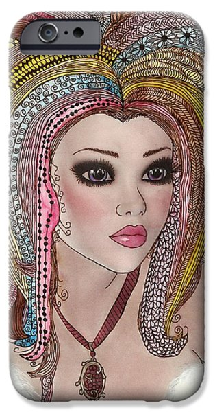 Pen And Ink iPhone Cases -  Girl With the Rainbow Hair iPhone Case by Terry Fleckney