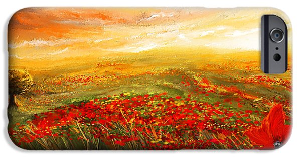 Vineyard Art iPhone Cases -  Glowing Rhapsody - Poppies Impressionist Paintings iPhone Case by Lourry Legarde