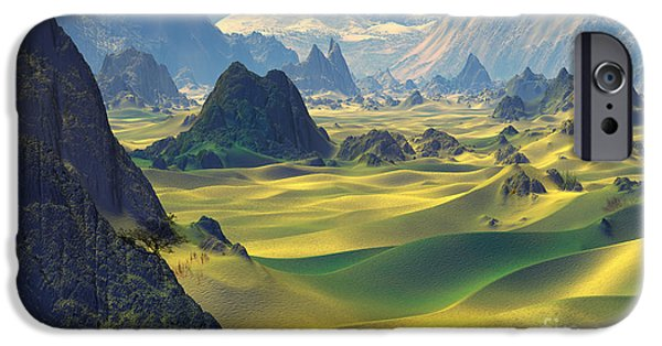 Sand Dunes Mixed Media iPhone Cases -  Gobi Desert and Dunes Land  iPhone Case by Heinz G Mielke