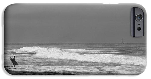 La Jolla Surfers iPhone Cases -  Goin In Black and White iPhone Case by Peter Tellone