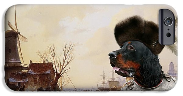 Gordon Setter iPhone Cases -  Gordon Setter Art Canvas Print - iPhone Case by Sandra Sij