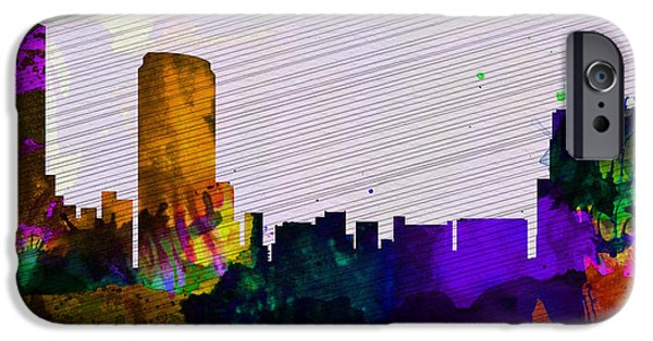 Downtown Mixed Media iPhone Cases -  Grand Rapids City Skyline iPhone Case by Naxart Studio