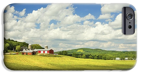 Farm iPhone Cases -  Hay harvesting In Field Near Red Barn Maine Photograph iPhone Case by Keith Webber Jr