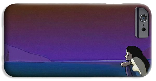 Irmgard iPhone Cases - 075 - Sitting at the edge of the bay iPhone Case by Irmgard Schoendorf Welch