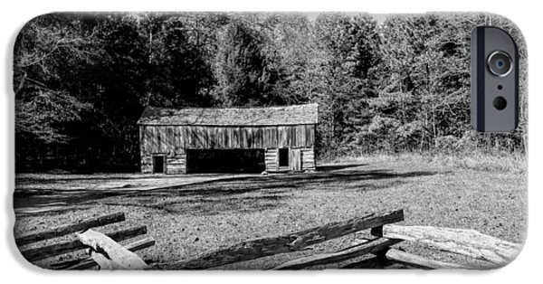 Smokey Mountain Drive iPhone Cases -  Historical Cantilever Barn at Cades Cove Tennessee in Black and White iPhone Case by Kathy Clark