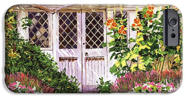 Terra Paintings iPhone Cases -  Hollyhock Gardens iPhone Case by David Lloyd Glover