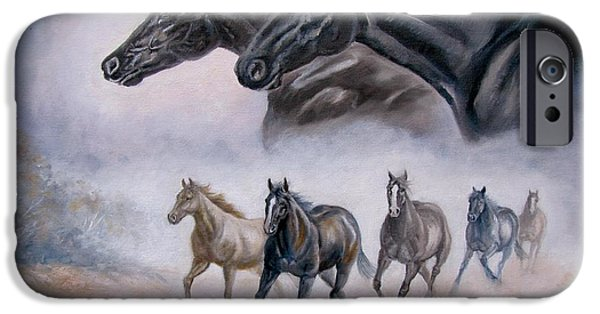 The Horse iPhone Cases -  Horse Painting Distant Thunder iPhone Case by Gina Femrite