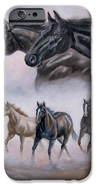Horse Painting Distant Thunder iPhone Case by Gina Femrite