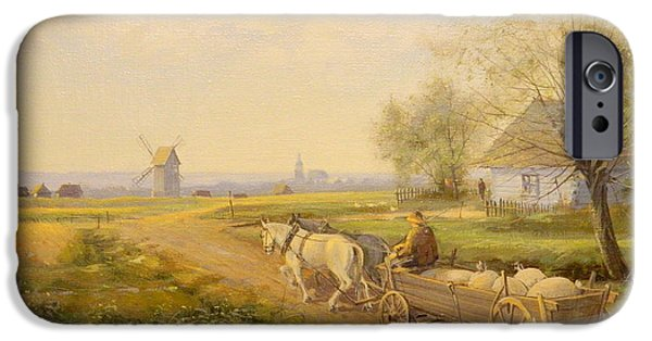 Horse And Cart Paintings iPhone Cases -  Horses and Wagon iPhone Case by Kazimierz Bac