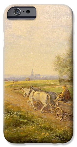 Horses and Wagon iPhone Case by Kazimierz Bac