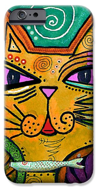Animal Cards iPhone Cases -  House of Cats series - Fish iPhone Case by Moon Stumpp