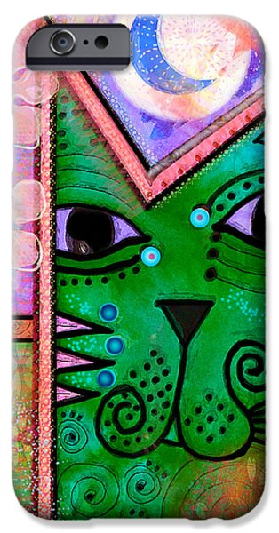Animal Cards Mixed Media iPhone Cases -  House of Cats series - Moon Cat iPhone Case by Moon Stumpp