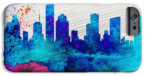 Horizon Paintings iPhone Cases -  Houston City Skyline iPhone Case by Naxart Studio