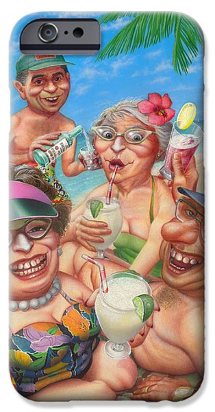 Airbrush iPhone Cases -  Humorous Snowbirds On Vacation - Senior  Citizen Citizens - Beach - Illustration  iPhone Case by Walt Curlee