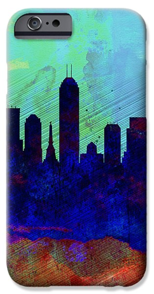 Indiana Landscapes iPhone Cases -  IIndianapolis Watercolor Skyline iPhone Case by Naxart Studio