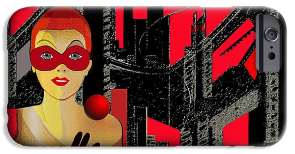 Irmgard iPhone Cases -   014 - In  Red   City Darkness iPhone Case by Irmgard Schoendorf Welch