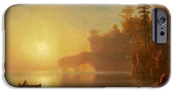 Canoe Waterfall Paintings iPhone Cases -  Indian Canoe iPhone Case by Albert Bierstadt