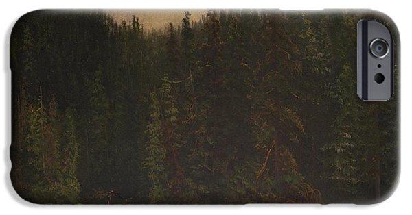 Canoe Waterfall Paintings iPhone Cases -  Indian Hunters in Canoe iPhone Case by Albert Bierstadt