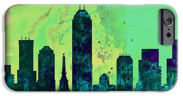 Horizon Paintings iPhone Cases -  Indianapolis City Skyline iPhone Case by Naxart Studio