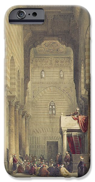 Architectural Elements iPhone Cases -  Interior of the Mosque of the Metwalys iPhone Case by David Roberts