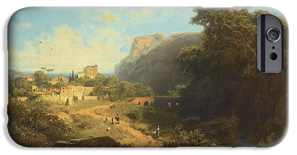 Recently Sold -  - Ruin iPhone Cases -  Italian Landscape iPhone Case by Carl Spitzweg