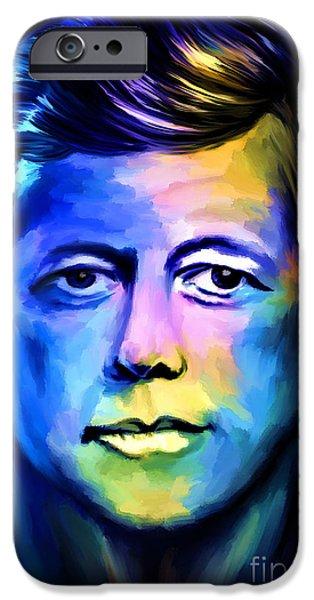 President iPhone Cases -  John Fitzgerald Kennedy iPhone Case by Andrzej Szczerski