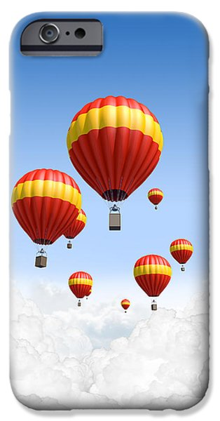 Hot Air Balloon iPhone Cases -  Joy Above The Clouds iPhone Case by Allan Swart