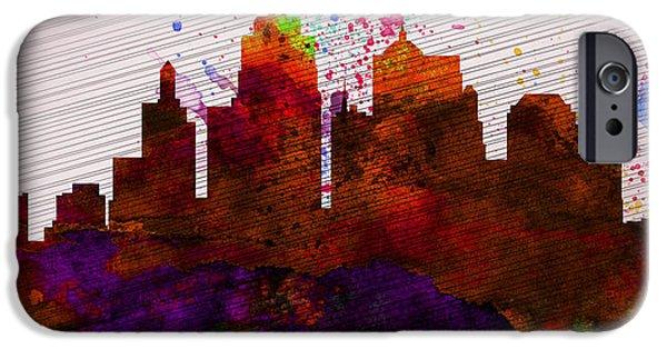 Kansas iPhone Cases -  Kansas City Skyline iPhone Case by Naxart Studio