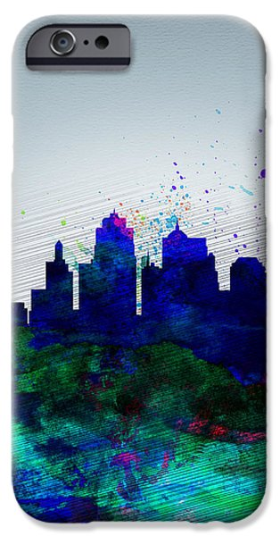 Downtown Digital iPhone Cases -  Kansas City Watercolor Skyline iPhone Case by Naxart Studio