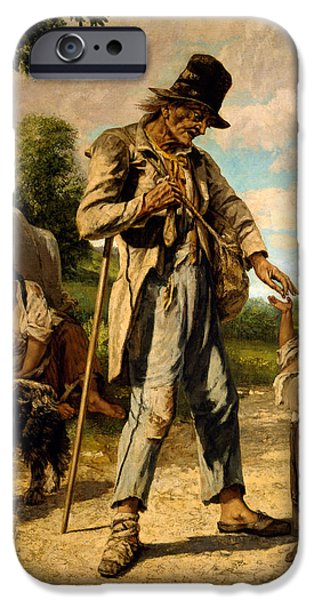Homeless iPhone Cases -  L Aumone d un Mendiant iPhone Case by Gustave Courbet