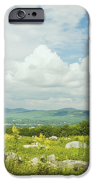 Large Blueberry Field With Mountains And Blue Sky In Maine iPhone Case by Keith Webber Jr