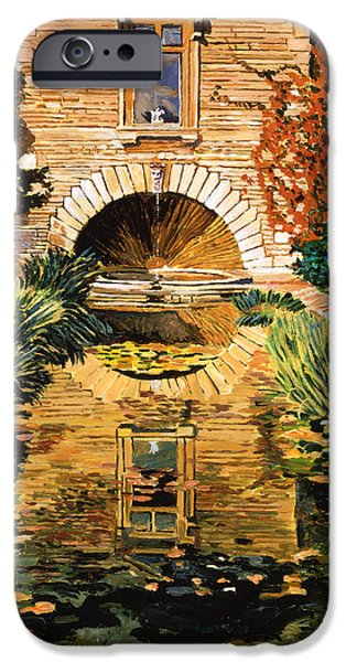 Pathway iPhone Cases -  Lily Pond And Fountain iPhone Case by David Lloyd Glover