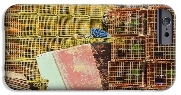 Business iPhone Cases -  Lobster Traps And Dinghy On Coast In Maine iPhone Case by Keith Webber Jr