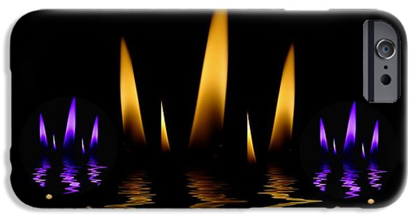 Contemplative Mixed Media iPhone Cases -  Lotus On Fire In The dark Night iPhone Case by Pepita Selles