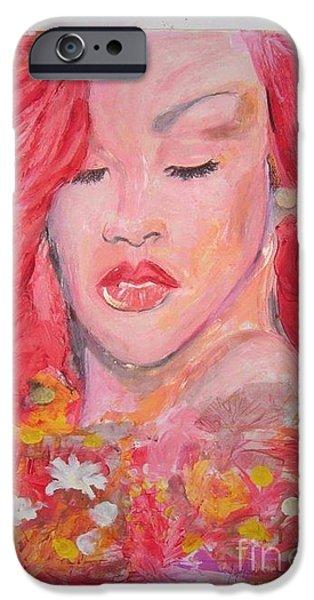Rihanna Paintings iPhone Cases -  love Rihanna iPhone Case by John Fitzsimon