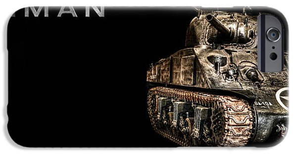 Fury iPhone Cases -  M4 Sherman Tank BK BG 2 iPhone Case by Weston Westmoreland