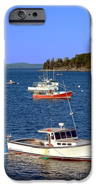 Maine iPhone Cases - Maine Lobster Boat iPhone Case by Olivier Le Queinec