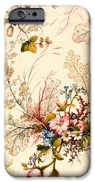 19th Century Drawings iPhone Cases -  Marble end paper  iPhone Case by William Kilburn
