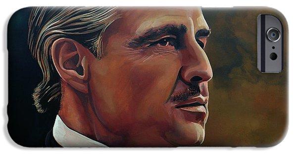 Idol Paintings iPhone Cases -  Marlon Brando iPhone Case by Paul Meijering