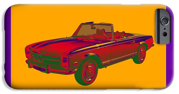 Warhol iPhone Cases -  Mercedes Benz 280 SL Convertible Pop Art iPhone Case by Keith Webber Jr