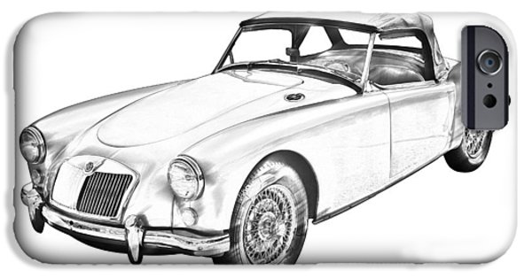 Vehicles iPhone Cases -  MG Convertible Sports Car Illustration iPhone Case by Keith Webber Jr