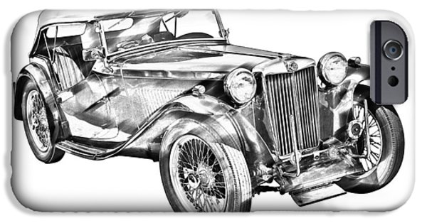 Black Top Digital Art iPhone Cases -  Mg Tc Antique Car Illustration iPhone Case by Keith Webber Jr