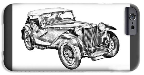 Black Top Digital Art iPhone Cases -  Mg Tc Antique Car Illustration iPhone Case by Keith Webber Jr