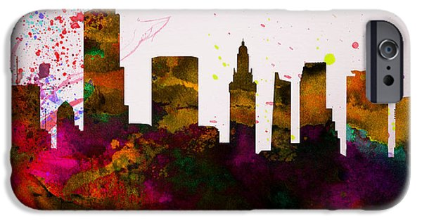 Horizon Paintings iPhone Cases -  Miami City Skyline iPhone Case by Naxart Studio